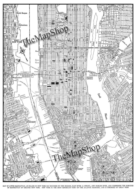 Street Map Of Manhattan Nyc.New York City Map 1944 New York City Manhattan Street Map Etsy