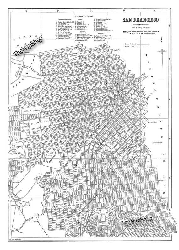 San Francisco Map Street Map Vintage Print Poster | Etsy