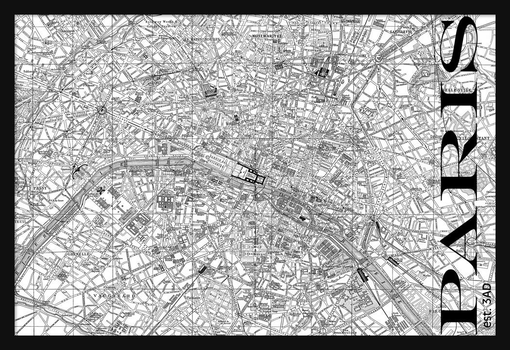 Paris Map Black And White.Vintage Paris Street Map Street Map Poster Print Black And Etsy