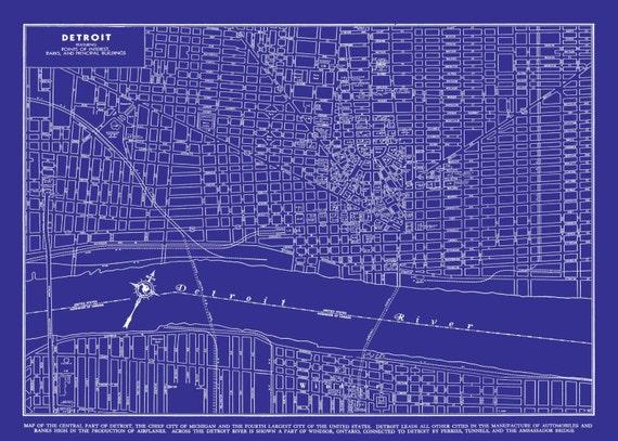 1949 Detroit Street Map Vintage Blueprint Print Poster   Etsy