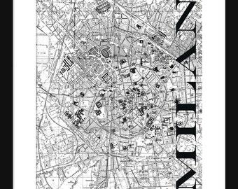 Milan Street Map Vintage Print Poster - Title