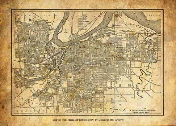 1944 Kansas City Kansas Street Map Vintage Sepia Grunge Print | Etsy