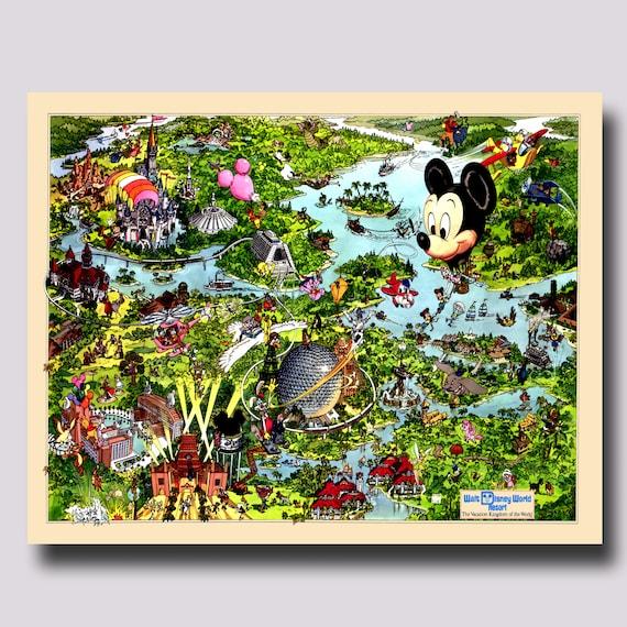 Disney World - Canvas - Map - Disney - Park Map - Vintage- Print - Poster
