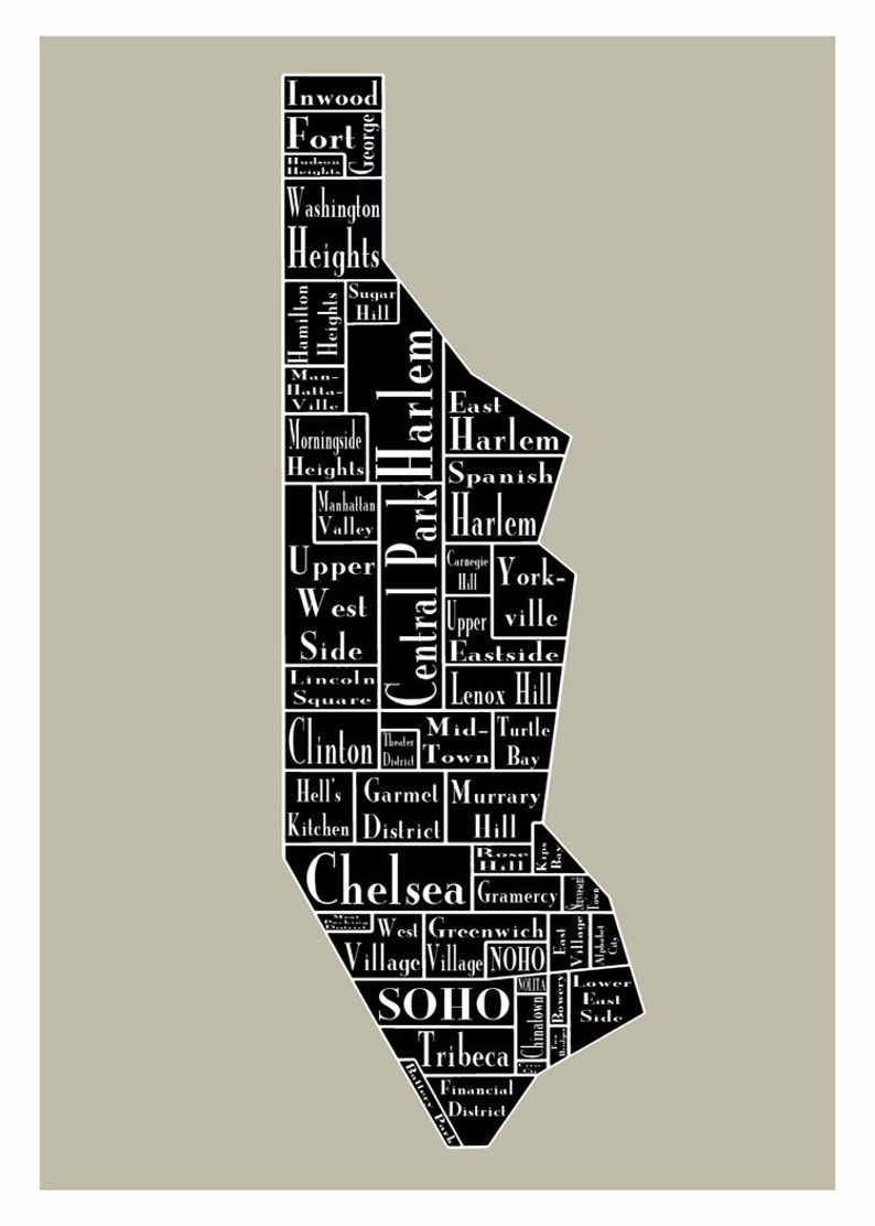 New York City Map Manhattan Neighborhood Map New York Black Etsy