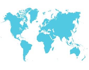 World Map Blue