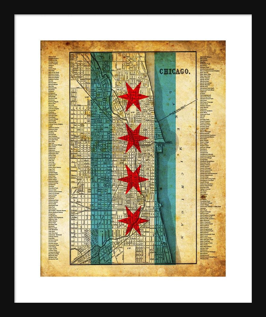 Chicago Neighborhood Map Grunge Flag Print Poster   Etsy