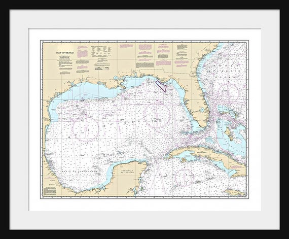 Golfo De Mexico Map.Gulf Of Mexico Map Nautical Map Nautical Chart Map Art Etsy