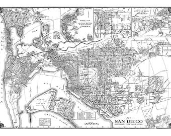 San Diego Street Map Vintage Print Poster