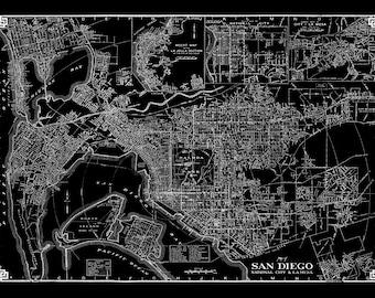 Vintage San Diego Street Map Black Vintage Print Poster