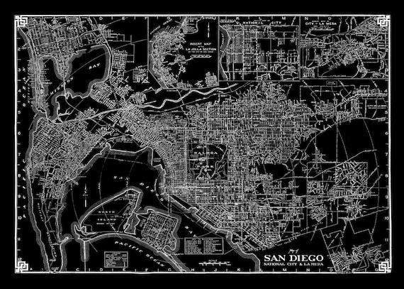 Vintage San Diego Map.Vintage San Diego Street Map Black Vintage Print Poster Etsy