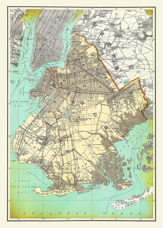 Map Of New York Brooklyn.New York City Map Brooklyn Street Map Vintage Print Poster