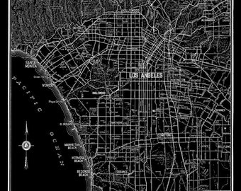 Los Angeles Map - Street Map Vintage Black Print Poster