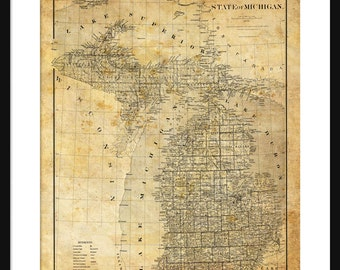 Michigan State Map 2 1878 Map Poster Print Sepia