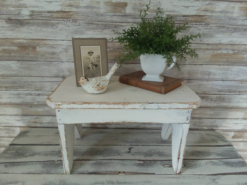 Pleasing Small Vintage Wooden Bench Upcycled Distressed Short Bench Shabby Cottage Modern Farmhouse Furniture Photo Prop Porch Decor Gmtry Best Dining Table And Chair Ideas Images Gmtryco