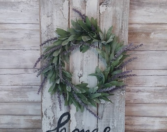 Wreath on Wood, Lavender wreath, Modern Farmhouse, Rustic Cottage, Wall Decor, Home sign Trending Home Decor