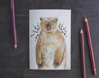 Pocket Sketchbook, Travel Gift, Sketchbook, Travel Journal, Notebook, Travelers Notebook, A5 Notebook, Bullet Journal, A6 Notebook, Bear