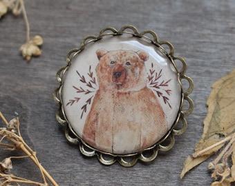 Brown Bear Brooch - Antique Brass Bronze - Brown Bear - Animal