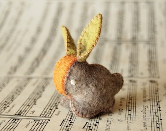 Grey Felted Baby Carrot Bunny Rabbit -- Wool Toy Handmade Felted BABY SHOWER GIFT