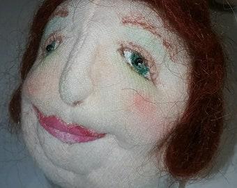 OOAK Soft Cloth Needle Sculpted Doll Head Face Nana Grandma Grandmother Mimi