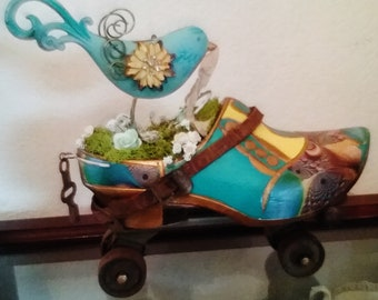 Dutch Wooden Shoe-mobile on Antique Roller Skate with Bird Driver Steampunk