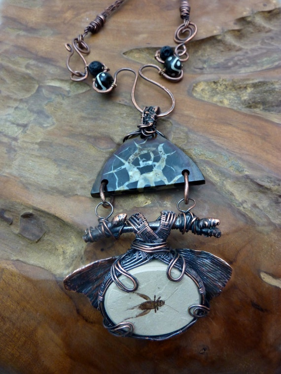 Fossil Cricket with Ginkgo Leaf and Septarian on Copper-Handmade in the USA