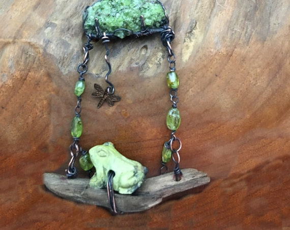 Prince On a Log - Peridot Druzy, Serpentine, Driftwood Pendant Necklace - Handmade in the USA