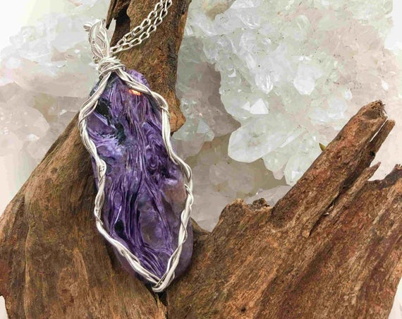 Lovely Fairy Piece of Charoite made into a Pendant with Silver Wire and Chain - Handmade in the USA
