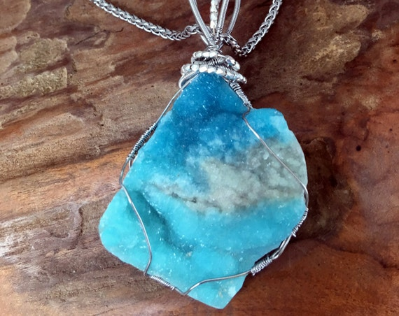 Chrysocolla & Quartz Druzy Pendant Necklace - Handmade in the USA