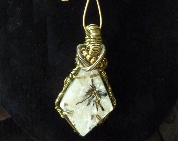 Rare Astrophyllite Crystals on Quartz with Antiqued Brass and Wire art