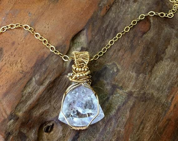 Faceted Phantom Quartz Crystal with Sparkling Phantom Inclusions