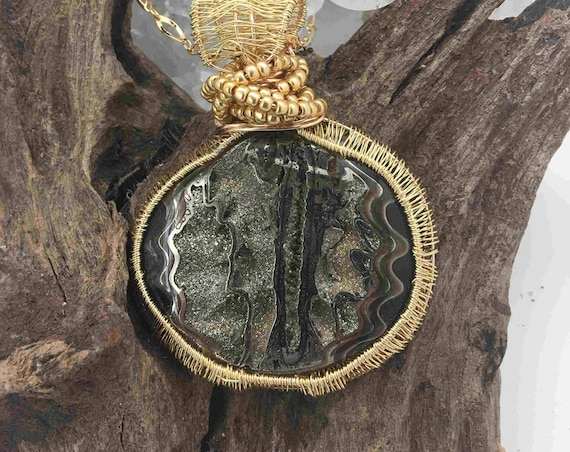 Pyritized Fossilized Ammonite Wrapped in Silver plated Gold, on a Gold Plated Chain - handmade in the USA