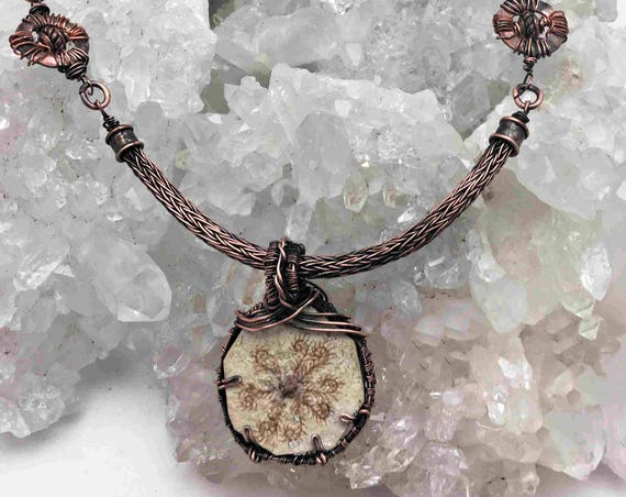 Reserved - Very rare Starfish Fossil With Handmade Viking Knit Chain and Copper Wire Wrapping - Handmade in the USA