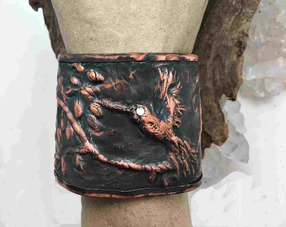 Chasing and Repousse Hummingbird Copper Cuff