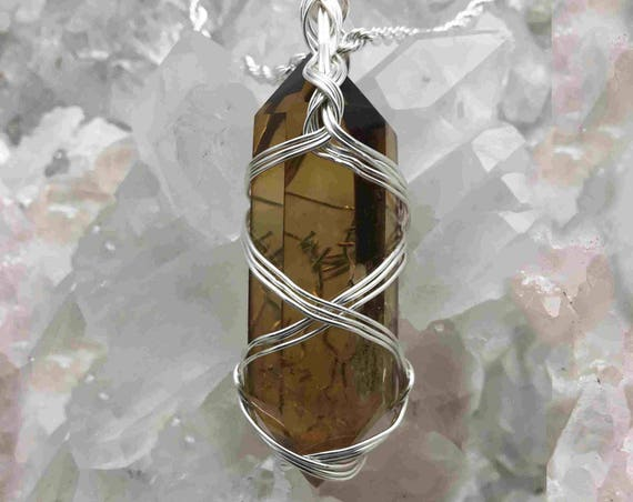 Beautiful Double Pointed Citrine Crystal Wrapped in Sterling WIre and Hanging from a Sterling Chain