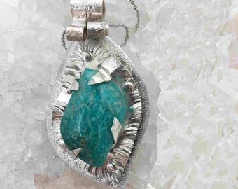 Amazonite on Sterling with Sterling Chain