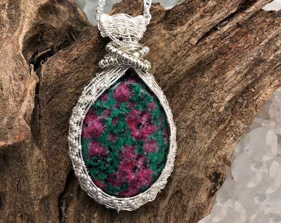 Ruby in Fuchsite Pendant Necklace with Woven Sterling Wire and Sterling Chain - Handmade in the USA