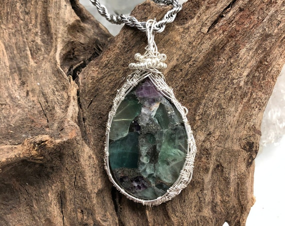 Green Fluorite with  Sterling Wire and Chain