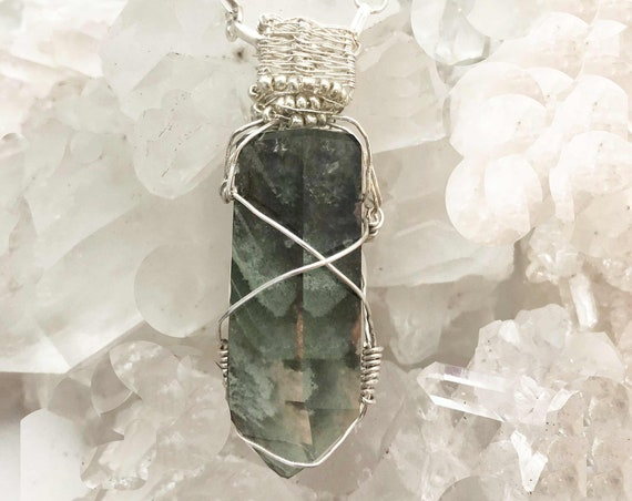 Reserved Unusual Included Smoky Quartz Pendant Necklace - Wrapped in Sterling with Sterling Chain - Handmade in the USA