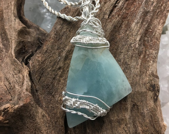 Ocean Blue Chalcedony Pendant Necklace Wrapped with Sterling and hanging from Sterling Chain