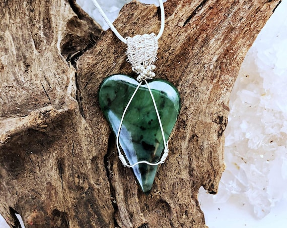 Jade Heart Pendant with Sterling Wire and Chain-handmade in the USA