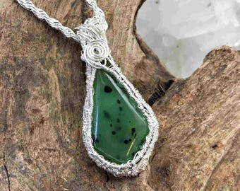 Reserved - Very Beautiful Piece of Montana Jade Pendant Necklace - Handmade in the USA