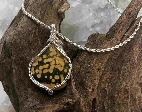 Yellow Poppy Jasper Pendant Necklace Wrapped with Sterling on a Sterling Chain - Handmade in the USA