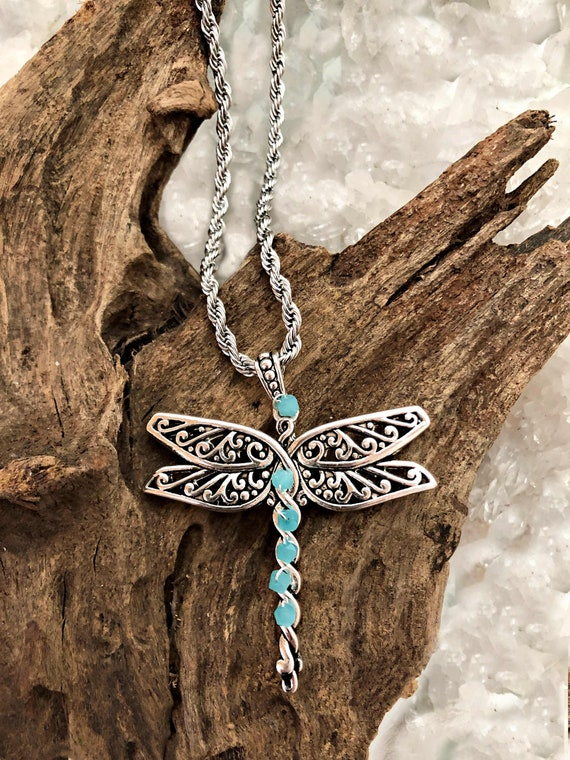 Dragonfly with Blue Crystal Beads