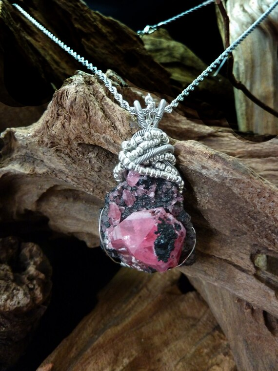 Rich Deep Rose Rhodochrosite Crystals on Tourmaline Matrix - Handmade in America