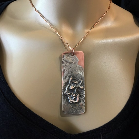 Reticulated Silver On Copper Pendant - Handmade in the USA