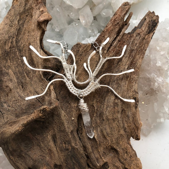 Tree of Life Necklace made of Sterling Silver Woven Wire -3. Handmade in the USA