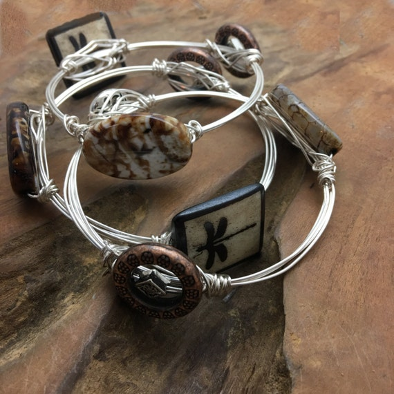 Lovely Set of 3 Bangle Bracelets Made from Fine Silver Plated wire, Dragon Flies, Agate, and Silver plated Beads
