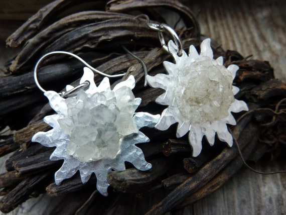 Beautiful White Rosette Earrings on Hammered Silver Disks
