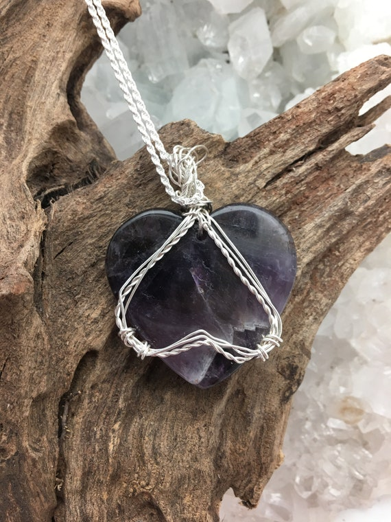 Lovely Amethyst Heart Wrapped with Woven Sterling Wire and hanging from Sterling Chain