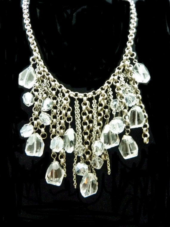 Beautiful Crystal and Antique Silver Neckalce